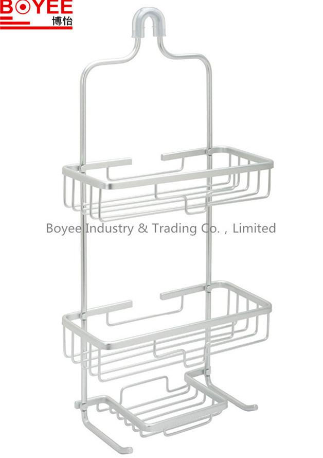 China Aluminum Shower Caddy Bathroom Rack Double Shelf with Soap ...