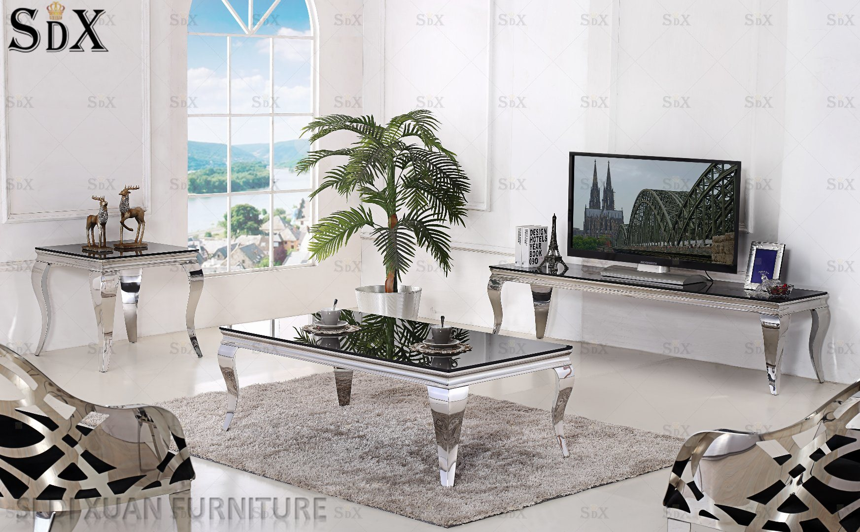 [Hot Item] Simple Glass Top Coffee Tables Stainless Steel Coffee Tables  Living Room Tables for Sale