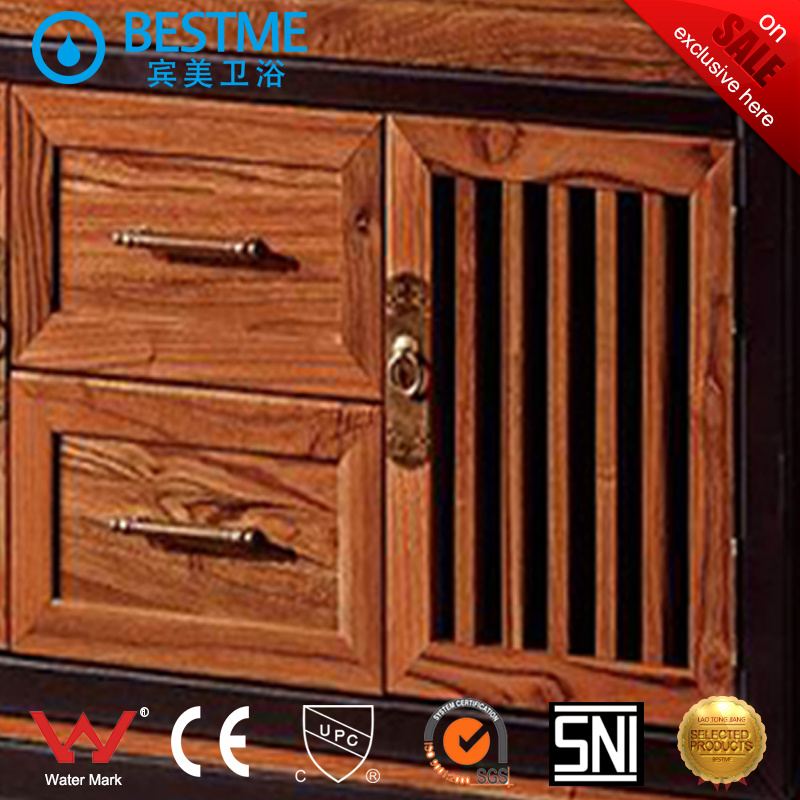 Classical Oak Wooden Bathroom Cabinet (BY-F8080) pictures & photos