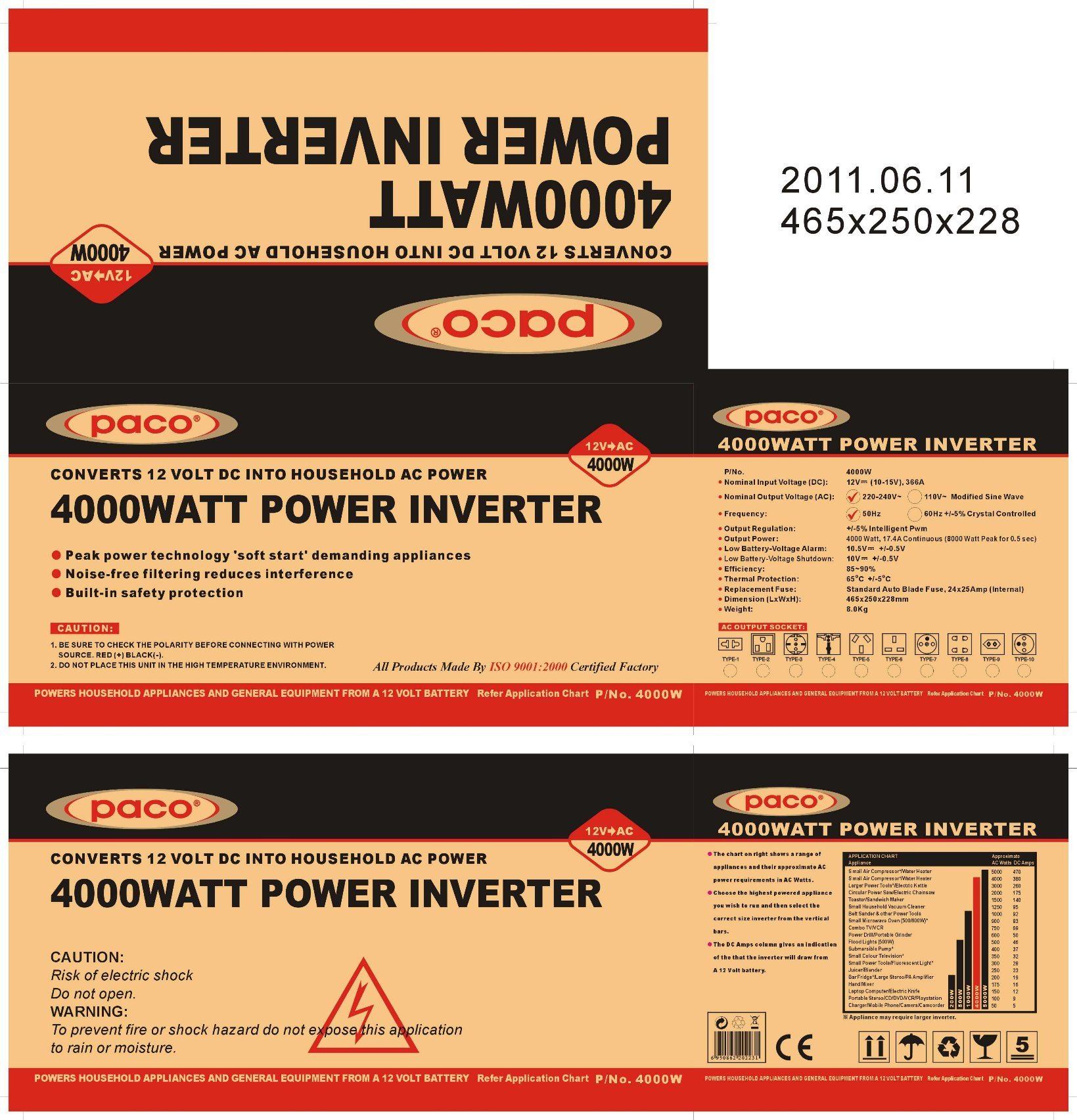 China Paco 4000w Modified Sine Wave Mobile Power Inverter For Car Square And Diagram Truck Traile