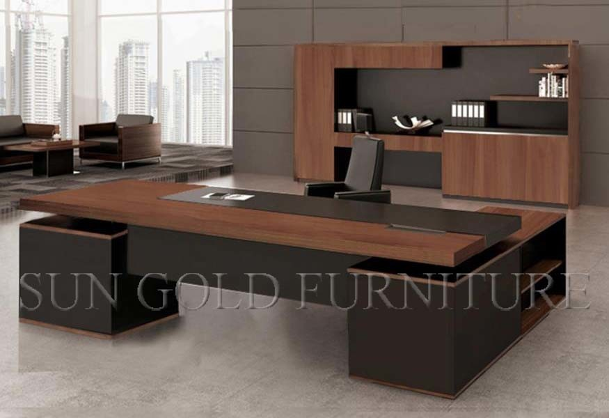 China Wood Office Furniture Modern Large Executive Desk SZOD48 Best Modern Wood Office Furniture