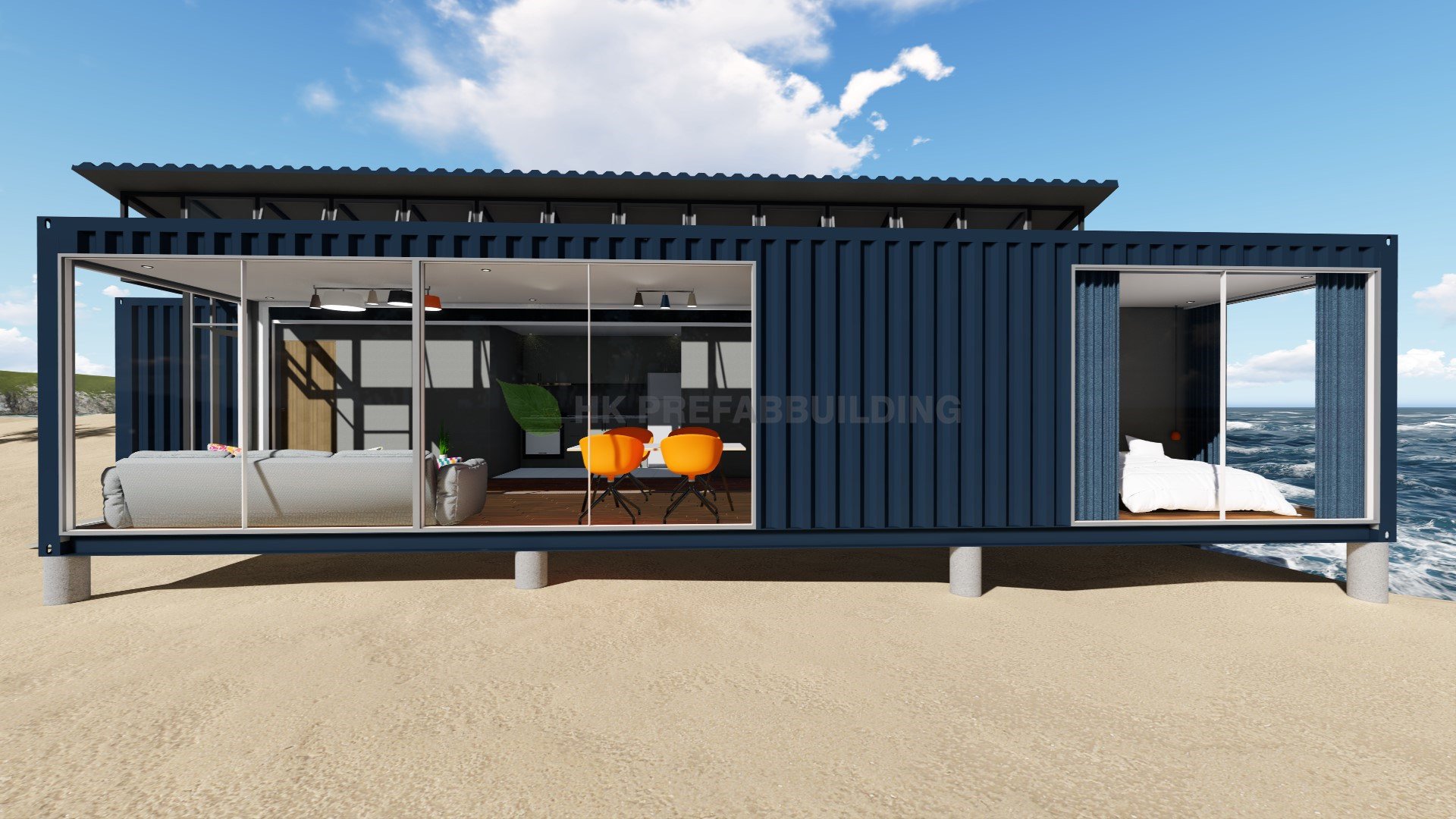 China deluxe ocean view modular prefabricated 40feet - 40ft shipping container home ...