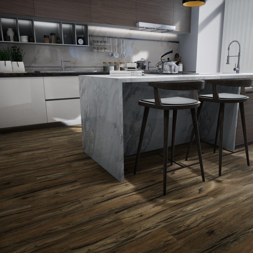Wood Grain Wear Resistant Plank Plastic Flooring Spc PVC Interlocking Vinyl  Floor Tiles Kitchen