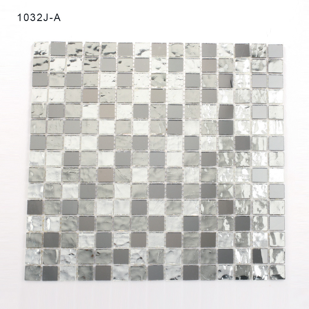 China Samples Bathroom Backsplash Silver Mosaic Tiles Stained Glass ...
