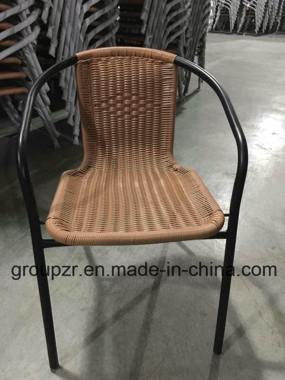 China Steel PE Rattan Chair Outdoor Wicker Furniture - China Steel ...