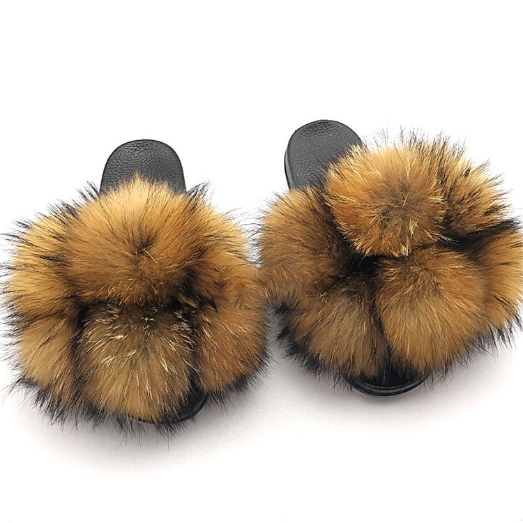 China Leather Slippers Colorful Fur