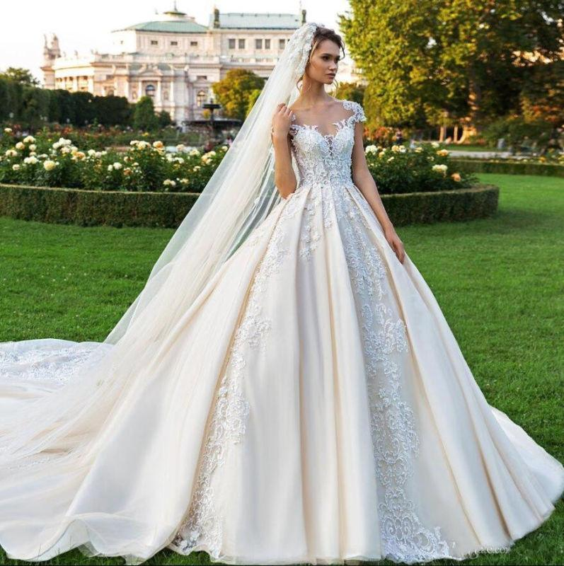 China Lace Cap Sleeves Wedding Dress Champagne Ivory Bride Ball Gown H1301 China Wedding Gown And Cap Sleeve Wedding Dress Price