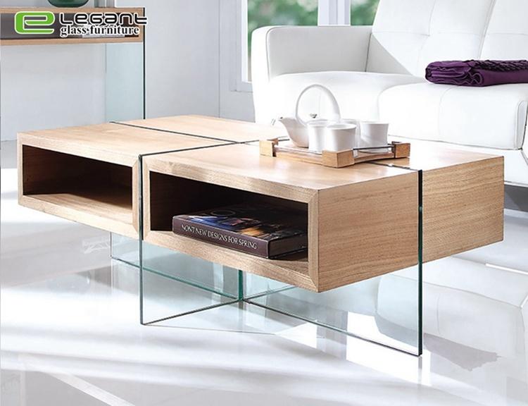 China Akiyama Ash Wood Veneer Center Table With Tempered Glass