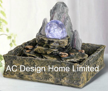 Hill Rock Finish Polyresin Indoor Home Decor Table Top Water Fountain W/LED  Light