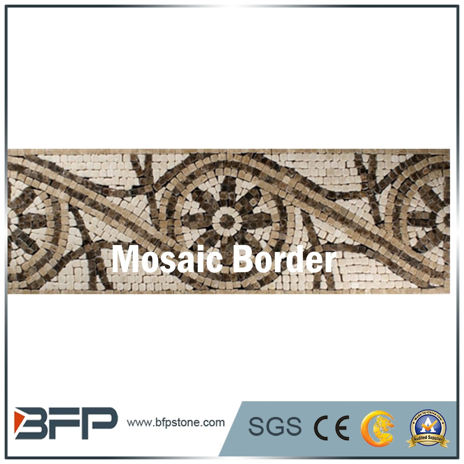 Modern Design New Style Black And White Marble Mosaic Border For Walls