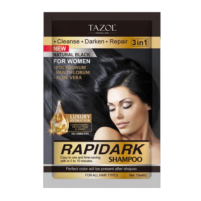 China Tazol Cosmetic Natural Black Hair Color Shampoo 15ml2 China