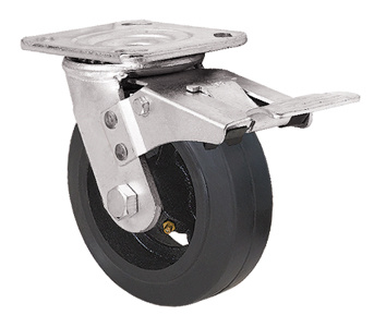 Heavy Duty Caster Series- 4in. W/Dual Brake - Rubber Wheel