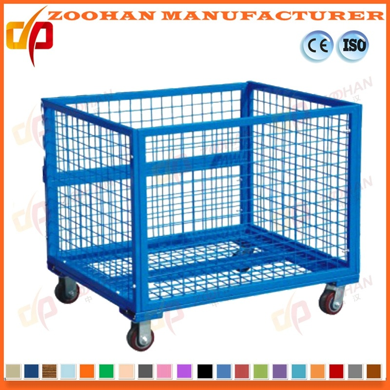 China Industrial Stackable Steel Wire Mesh Storage Cage with Wheels ...