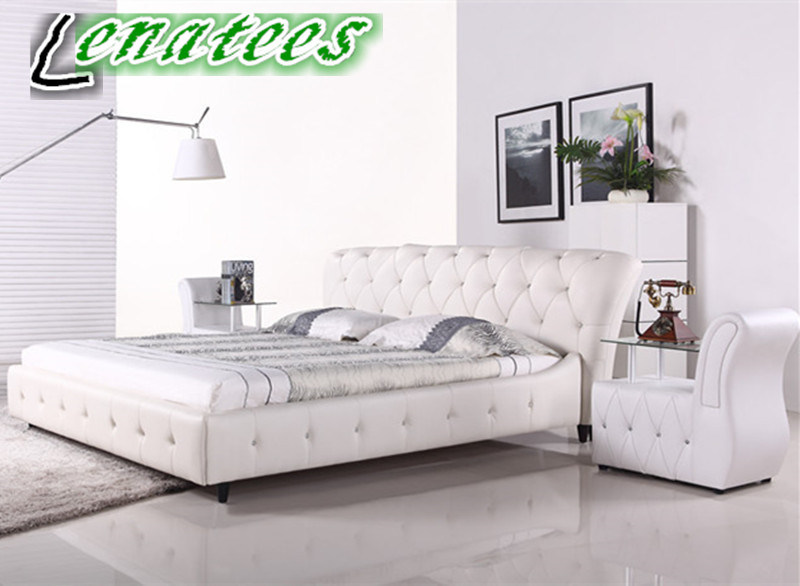 [Hot Item] A056 French Style Bedroom Furniture Genuine Leather Bed