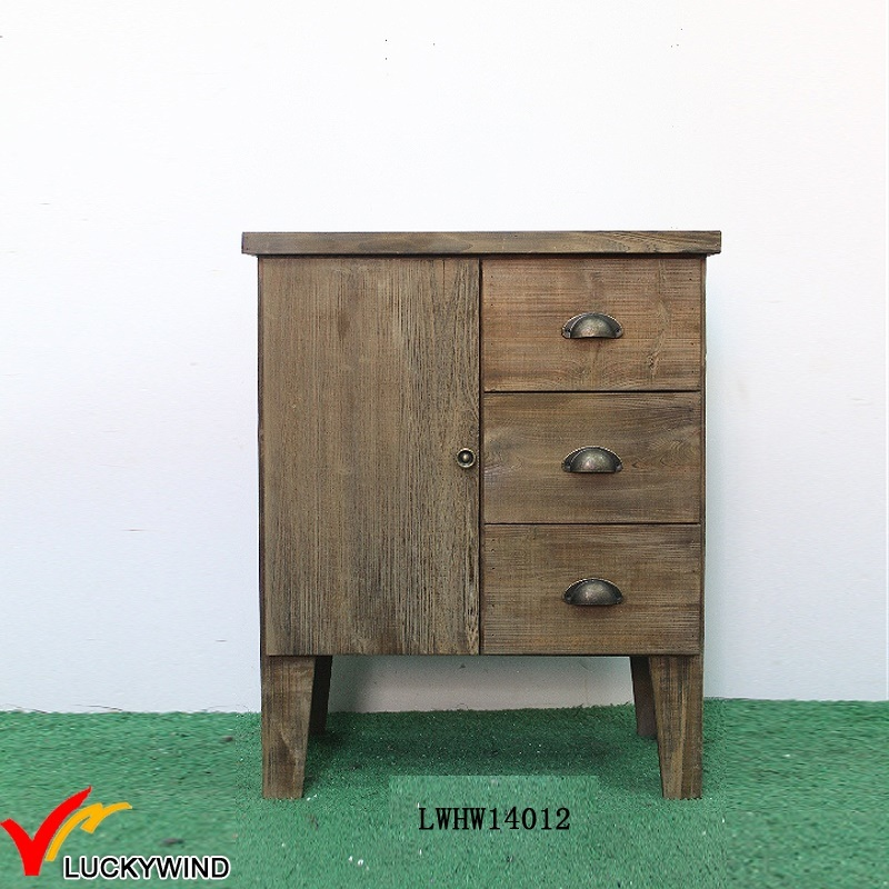 China Fir 1 Door 3 Drawers Small Antique Sideboard Cabinet
