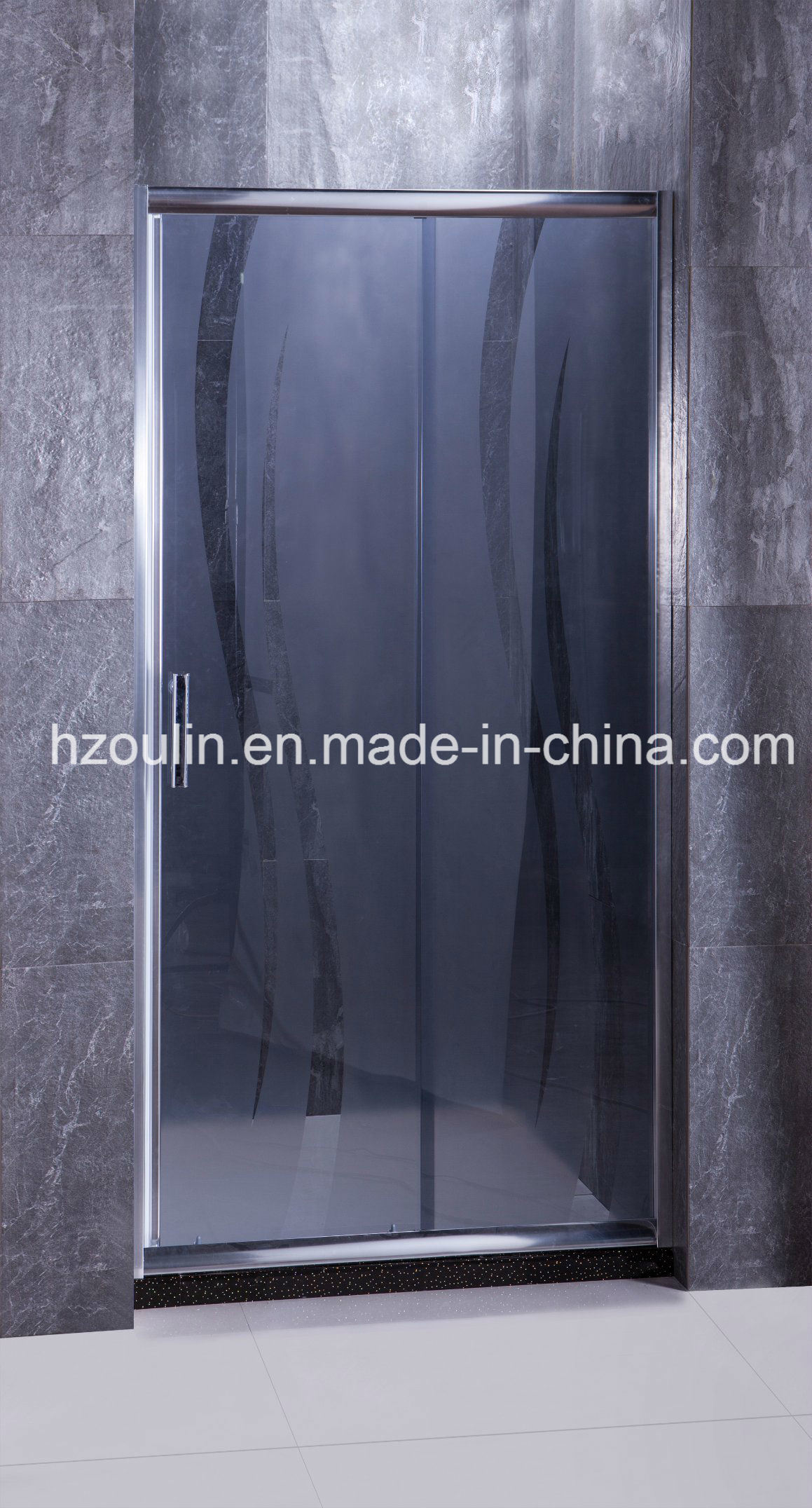 China Grey Glass Shower Door with Acid Design - China Shower Door ...