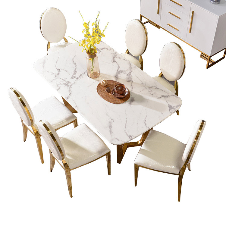 China Modern Luxury Furniture Marble Top Square Elegant Marble Table Set And Chairs For Dining Room China Marble Dining Table Dining Room Furniture