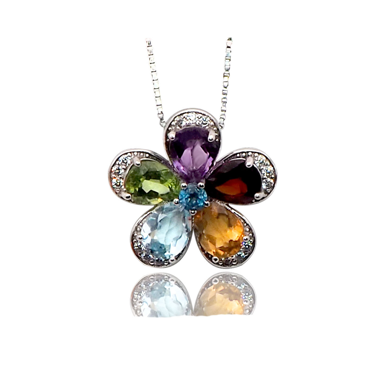 Sterling Silver Garnet Amethyst Citrine Peridot Necklace and Ear Ring Set