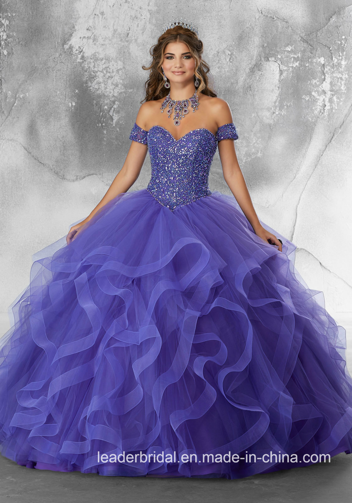 [Hot Item] Purple Quinceanera Dress Ball Gown Beaded Tulle Prom Dresses Q205