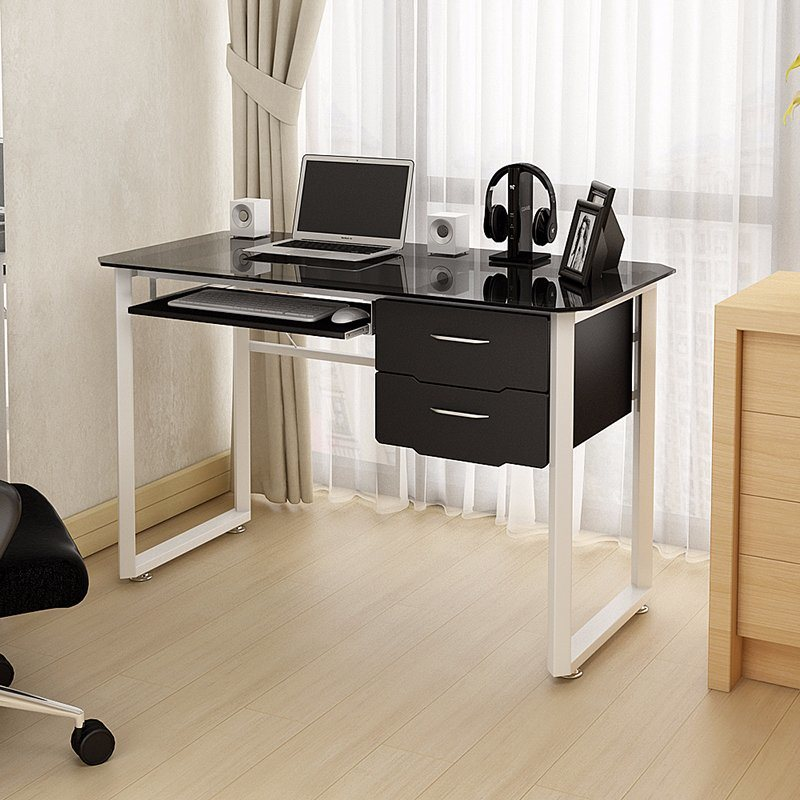 Tempered Glass Metal Computer Desk With Drawer
