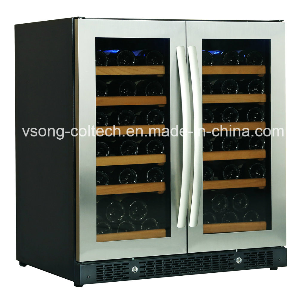 China 30 Built In Dual Zone Side By Side Glass Door Wine Beverage