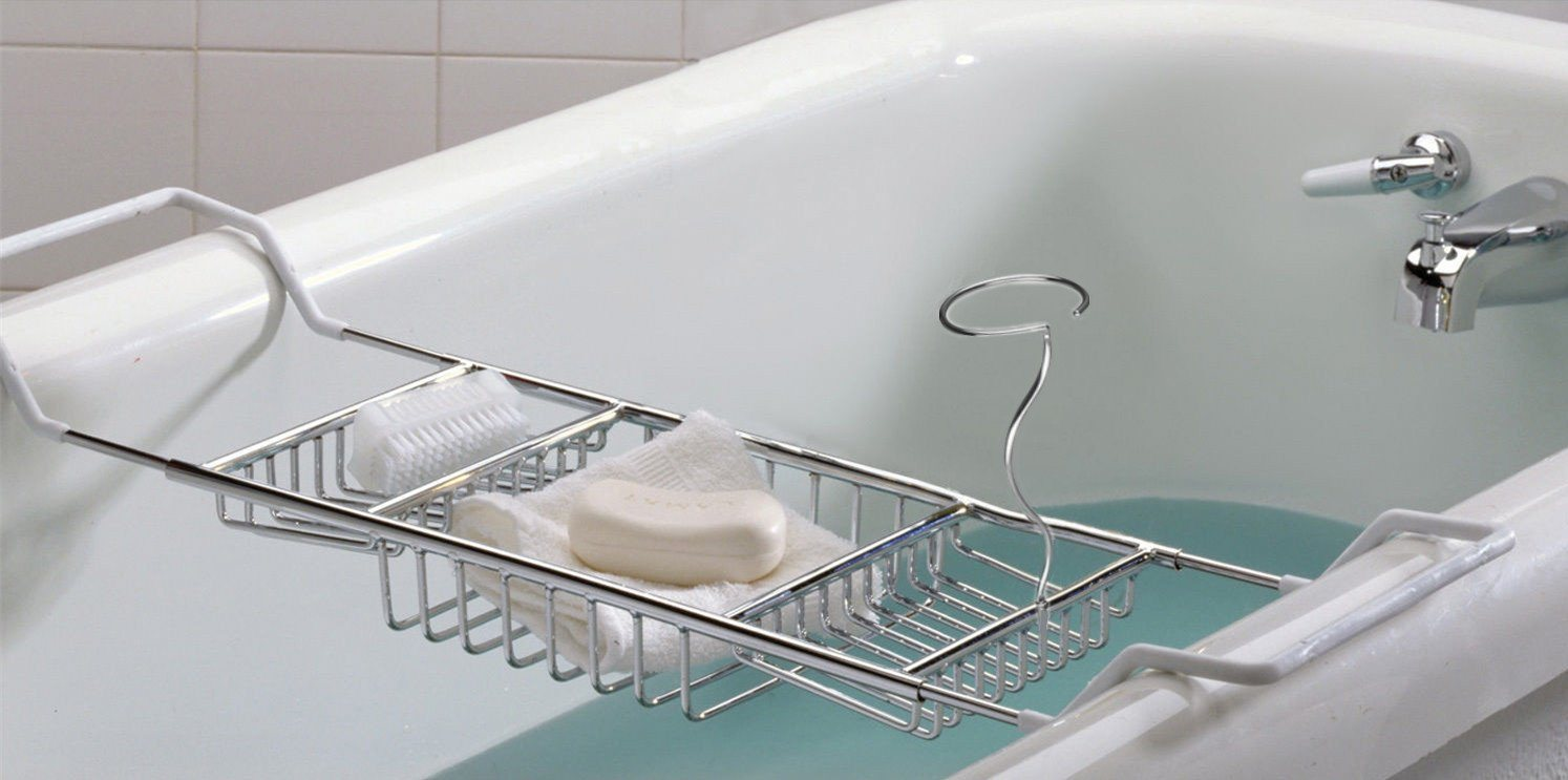 China Stainless Steel Bathtub Caddy With Extending Sides And Book Holder China Stainless Steel Bathtub Caddy