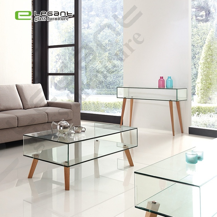 China Home Living Room Modern Clear Glass Center Coffee Table With