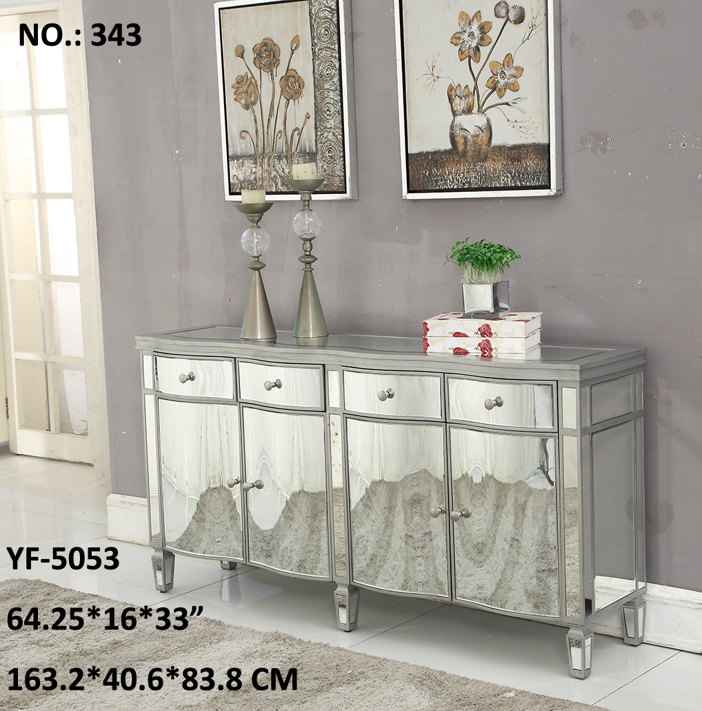 [Hot Item] Living Room 12 Drawer Golden & Silvery Mirrored Furniture