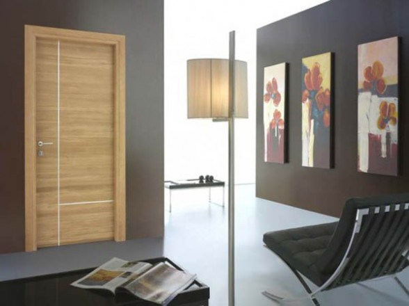 China Grey Color Engineered Wood Flush Interior Door With Groove