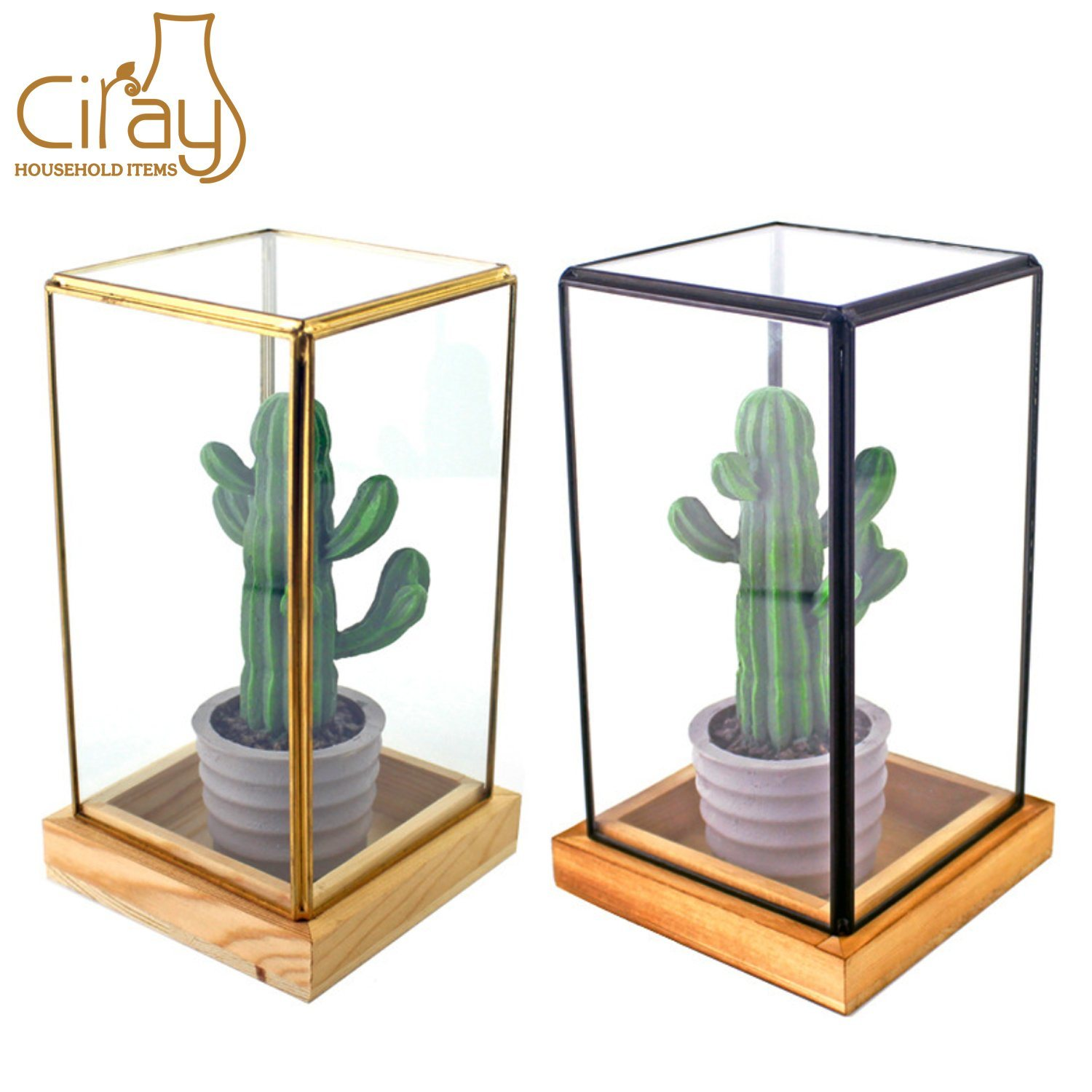 China Factory Wholesale Black Gold Rectangular Glass Terrarium With Wooden Tray China Glass Terrarium And Glass Vase Price