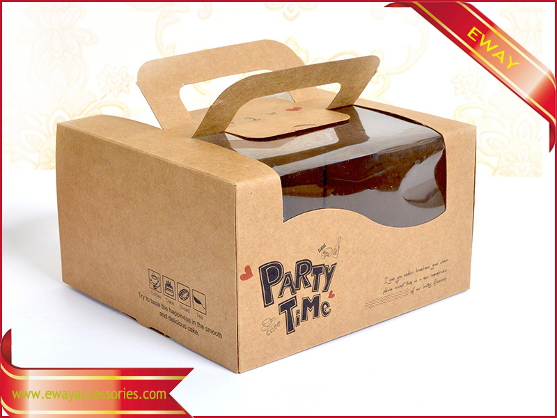 Cake Packing Box Fold Paper Box with Clear Window pictures & photos