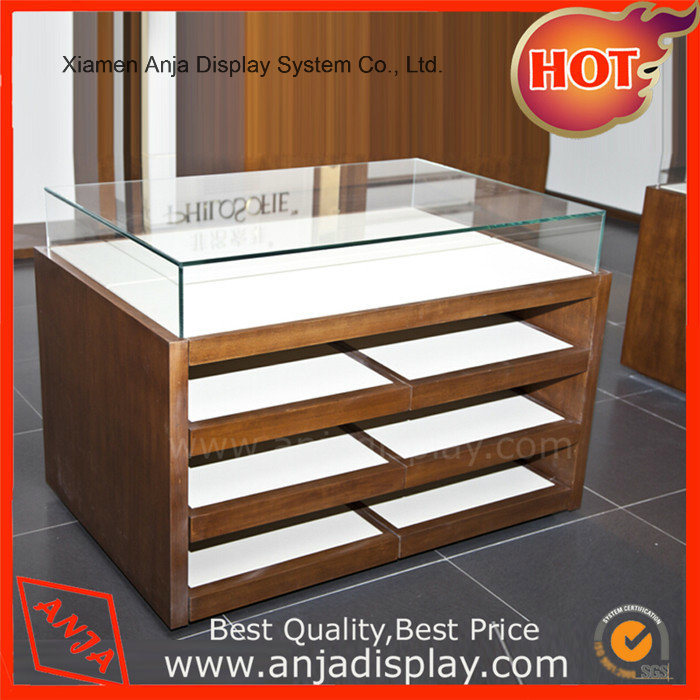 China Shoes Movable Wood Table Top Display Shelf Showcase Shoe Counter