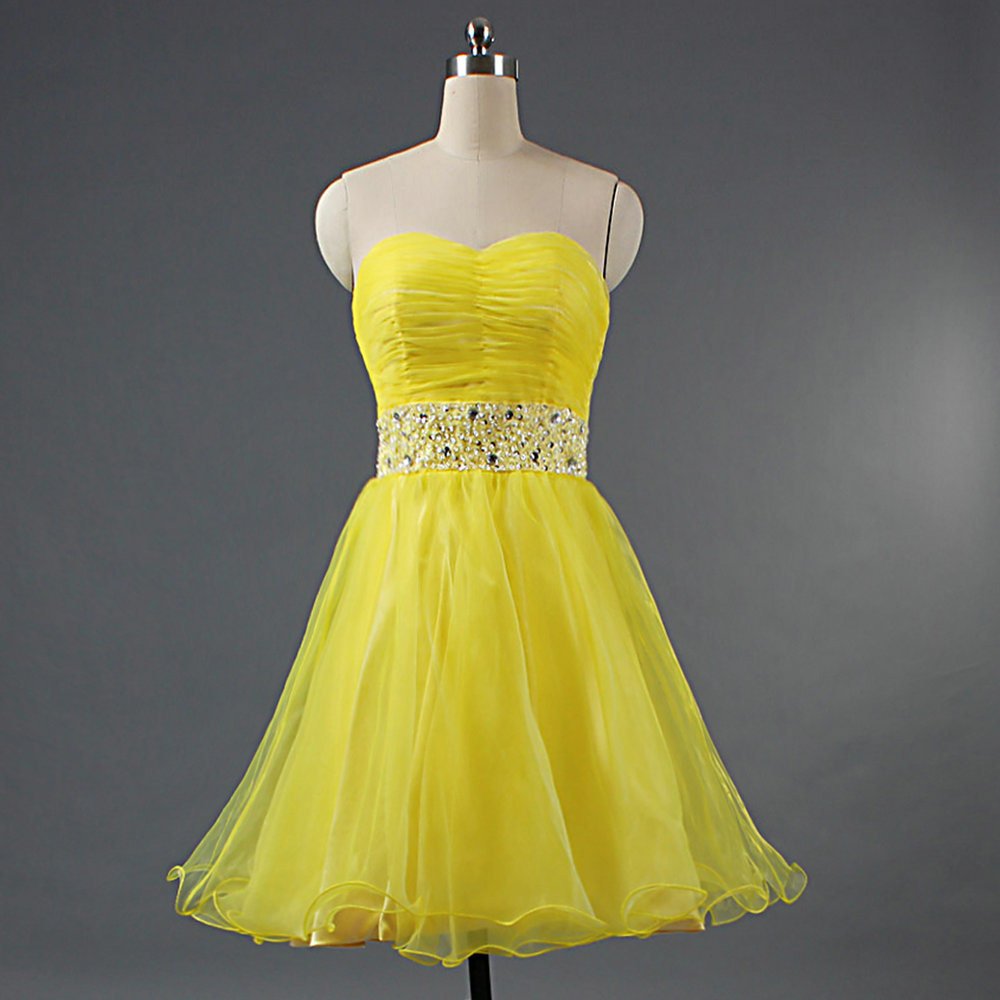 better price hot-selling 2019 best [Hot Item] Ladies Strapless Short Organza Yellow Party Evening Prom  Cocktail Dresses with Beaded Belt