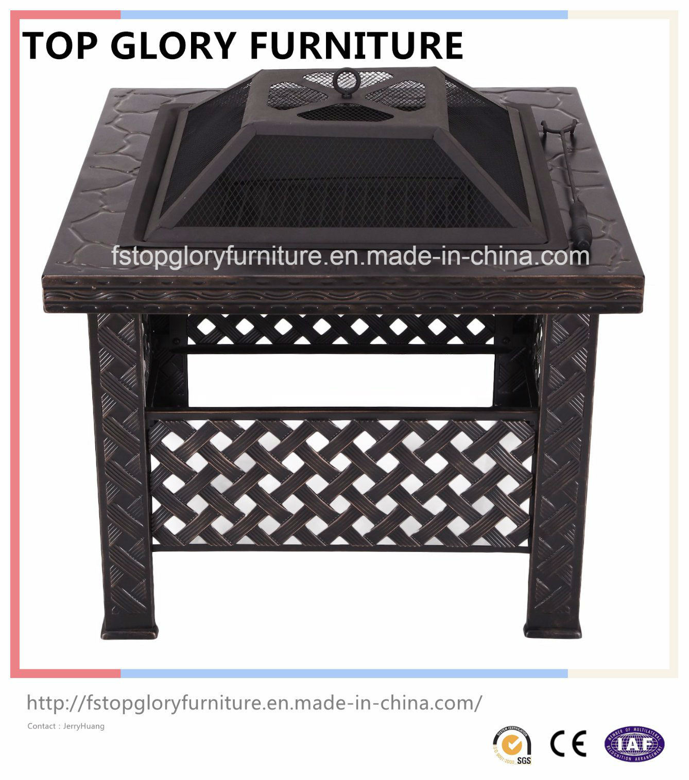 China Top Sale Outdoor Treasures Fire Pit Garden Outdoor BBQ Grill  (TGFT 133)   China BBQ Grill, Square Iron Patio Brazier BBQ Grill