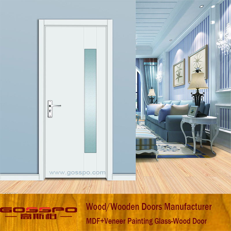 China White Paint Living Room Entrance Gl Wooden Door Gsp3 049