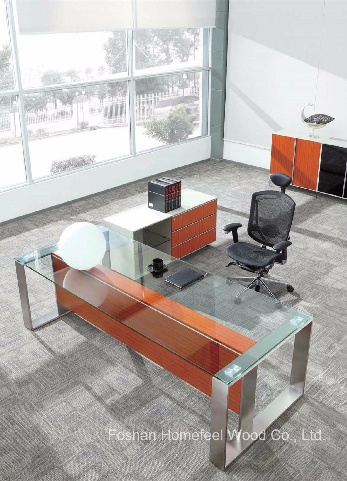 China Hot Modern Office Furniture Executive Glass Desk Hf Sia002 Table