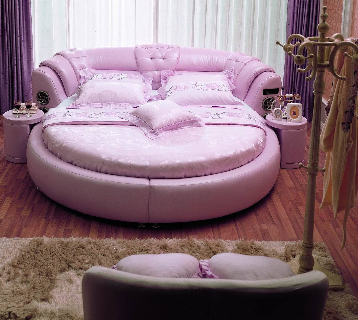 china round leather bed a021  china leather bed