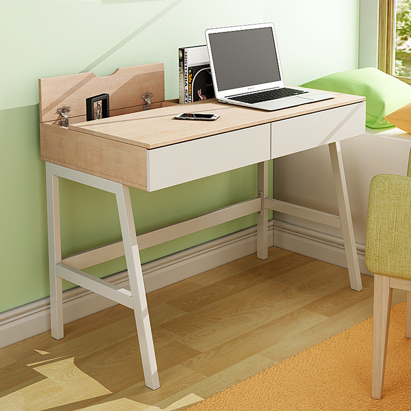 Modern Simple Study Desk For Student With Wide Wooden Laptop Table In Office Room