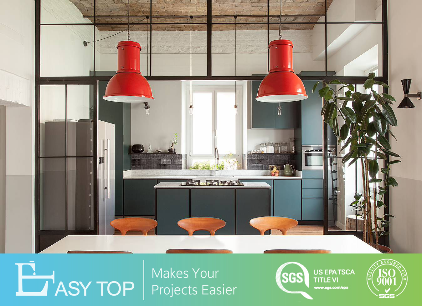 [Hot Item] Commercial Price Kitchen Furniture Set Kitchen Cupboard HPL  Laminate Finish Door Kitchen Set Cabinet