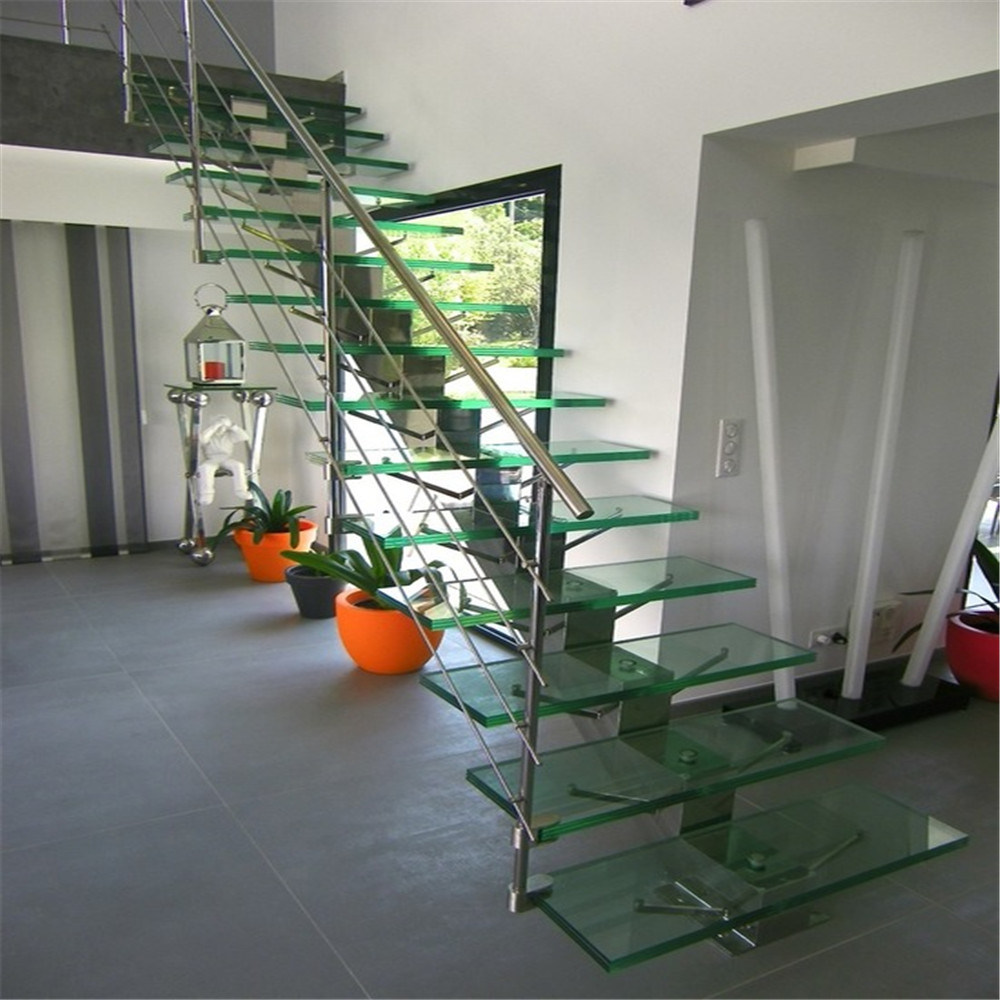 China Modern Stainless Steel Railing Stair With Anti Slip Straight Staircase  Glass Tread   China Glass Staircase, Straight Glass Staircase