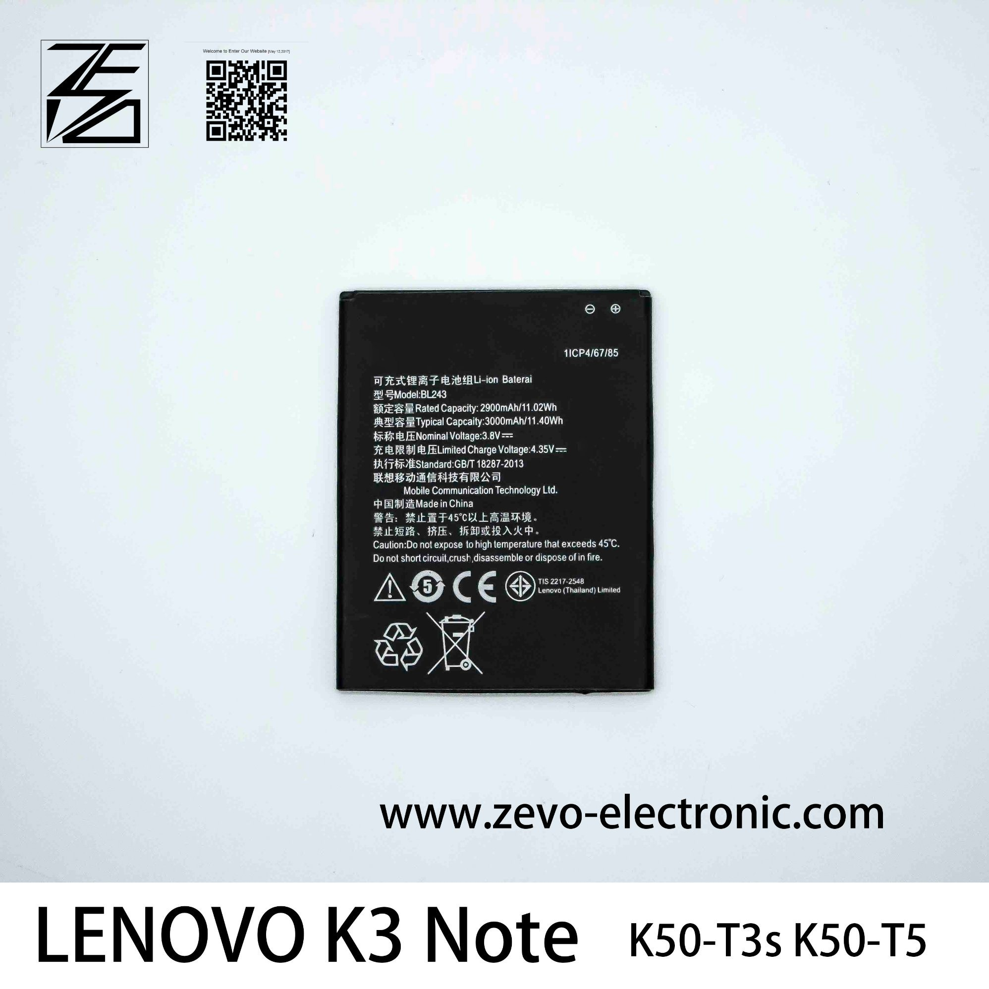 China Original Mobile Phone Battery For Lenovo K3 Note Bl243 K50 T5 Circuit Charger A7000 A5500 A5600 A7600 Manufacturer