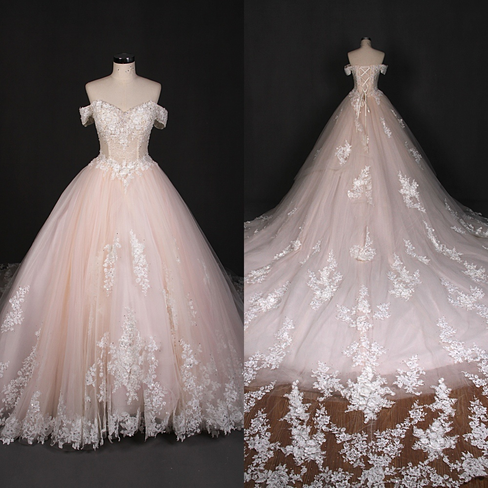 3D Flower Custom Made Wedding Dresses Made in China Qh66008 ...