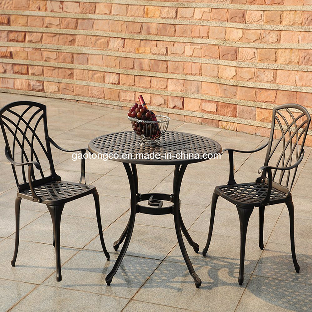 China 3pcs modern patio furniture outdoor garden bistro set cast aluminum balcony cafe table chairs set rose design china 3pcs modern patio furniture