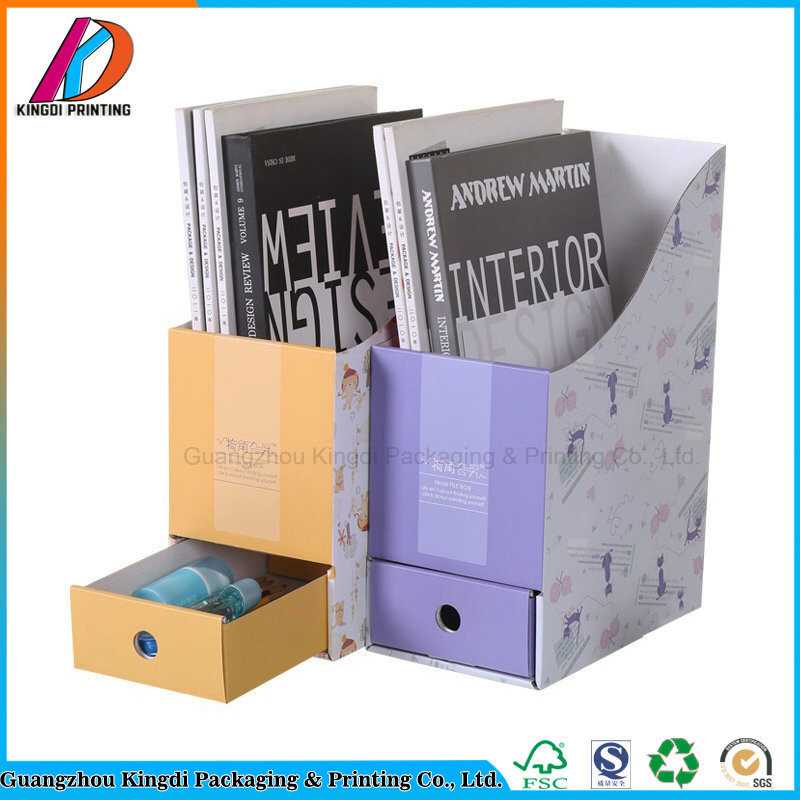 Custom Printing Desktop Cardboard Doent File Folder Holder With Drawer