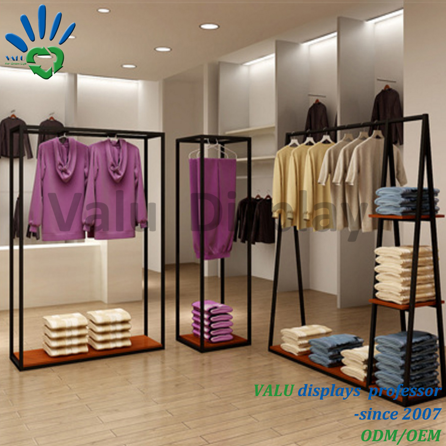 Cheap shop fitting garment rack clothes hanging stand