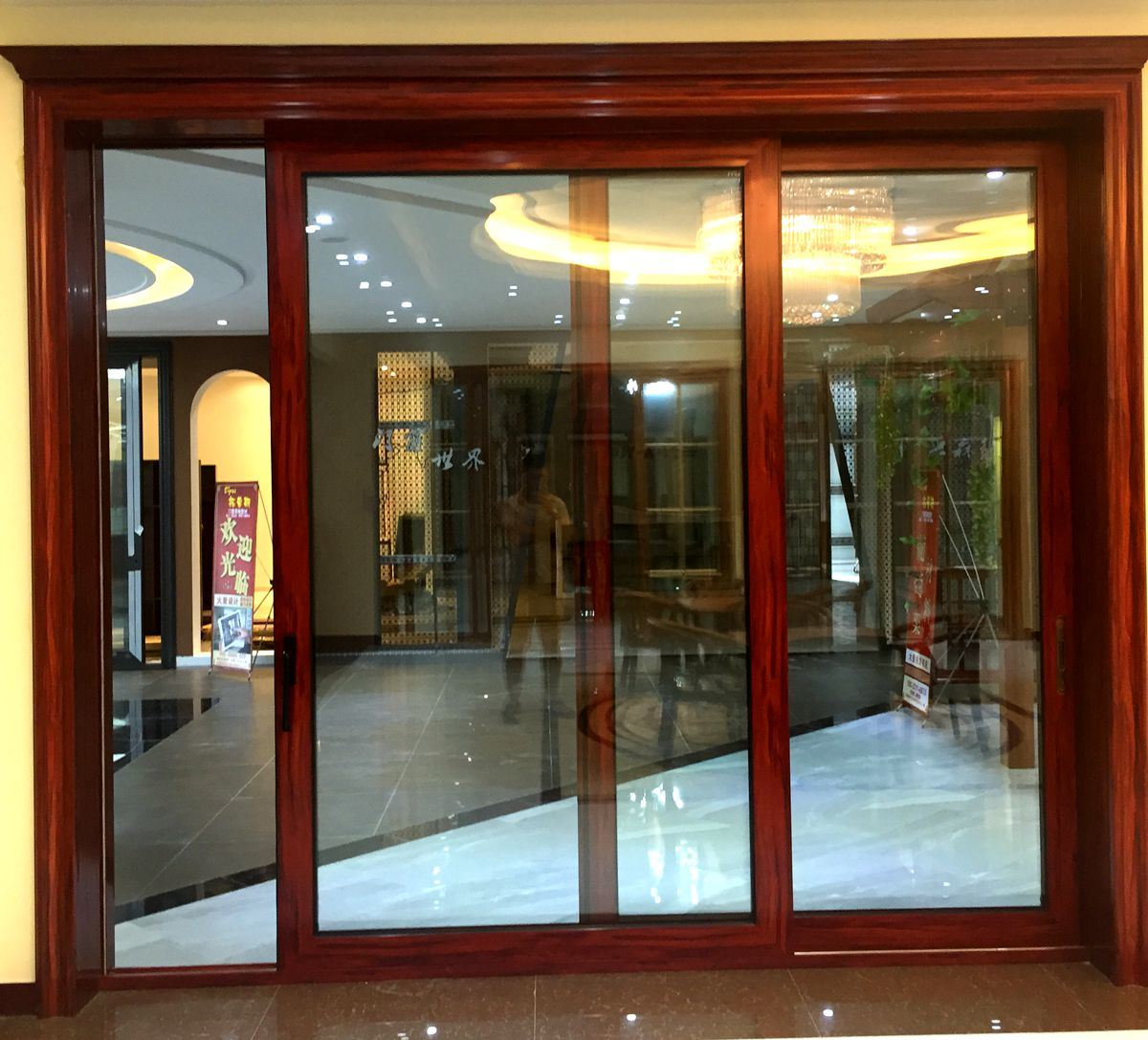 China Exterior Double Tinted Glass Aluminum Sliding Front Door