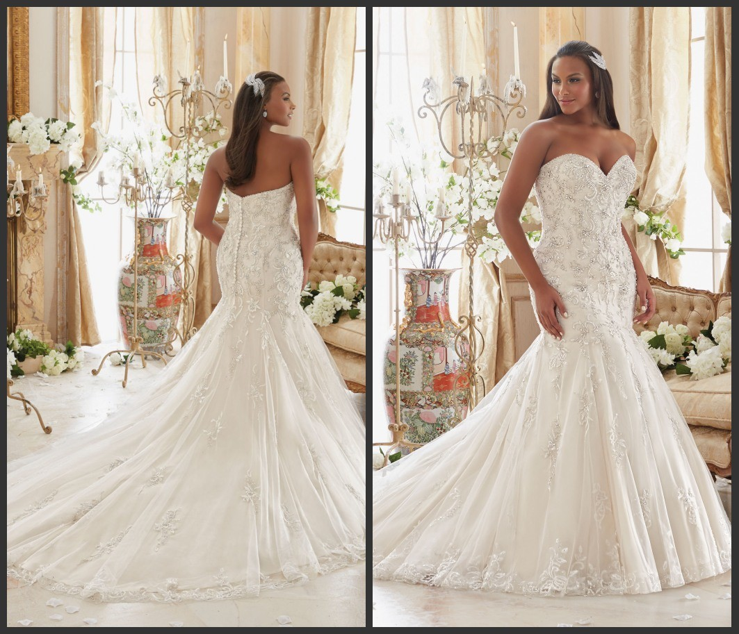 Silver Beading Bridal Gowns Plus Size