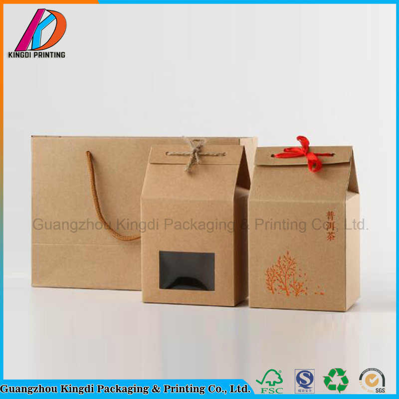 China House Shaped Brown Kraft Paper Gift Box With Ribbon
