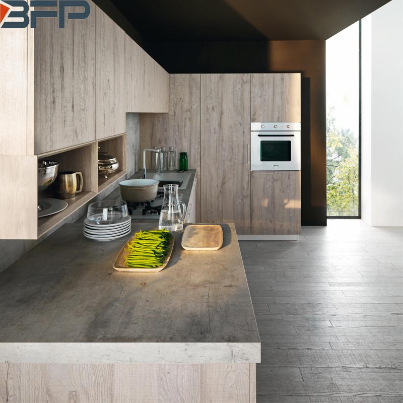 Contemporary Wood Grain Kitchen Cabinet