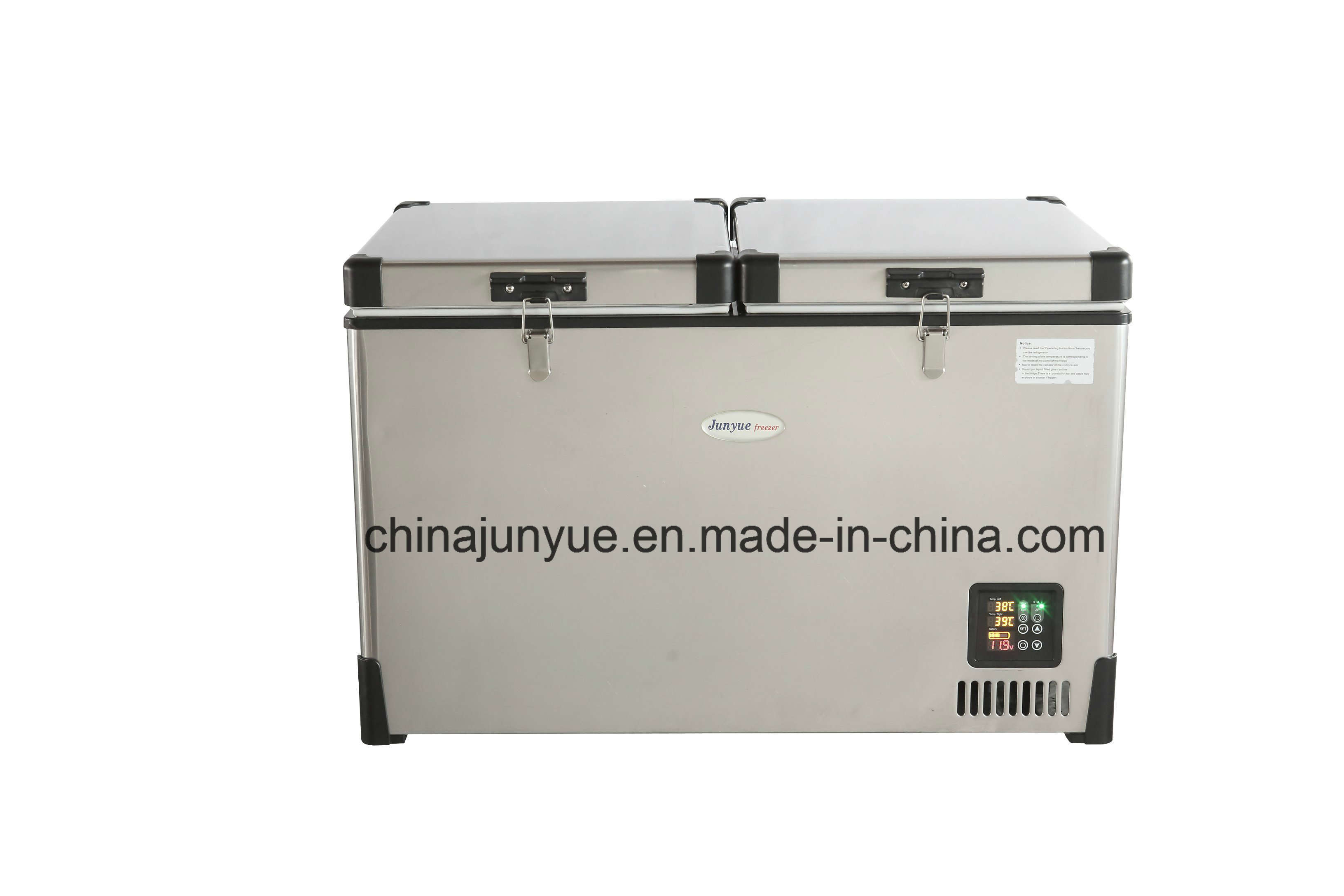 12/24 V DC Stainless Steel Double Temperature Chest Freezer Scd-68L